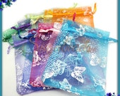 10 Butterfly Organza Bags in Mixed Colors, Purple, Blue, Green, Red 12cm x 9cm