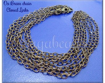 4 - Ox Brass Cable Chain with Clasp 16 inch - Finished Brass Chain - US Made Brass Chain