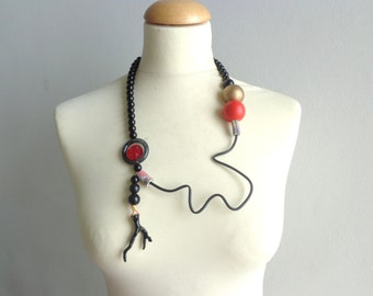 Black red long statement necklace, black coral necklace, coral branch necklace