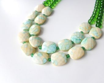 Green mint cream statement necklace double strand