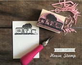 Custom Hand-Carved House Rubber Stamp - Housewarming Gift New Home Just Moved Wedding Present