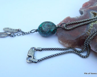 Twin Feathers* Turquoise Nugget & Sterling Silver Necklace Oxidized Sterling Chain Jewelry Natural Blue Turquoise First Nation Jewelry