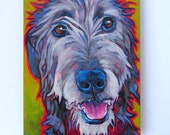 IRISH WOLFHOUND Dog Original Portrait Art Painting on Panel 6x8 by Lynn Culp