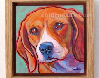 BEAGLE Dog Original Portrait Painting on 6x6 Panel Framed — by Lynn Culp