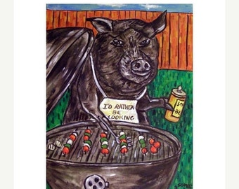 ON SALE Pig Cooking Out Animal Art Print