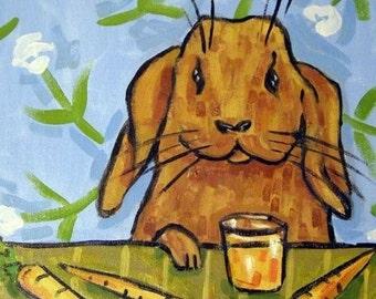 ON SALE Bunny Rabbit Drinking Carrot Juice Animal Art Tile Coaster