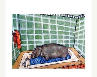 ON SALE Hippopotamus Taking a Bath Hippo Art Print