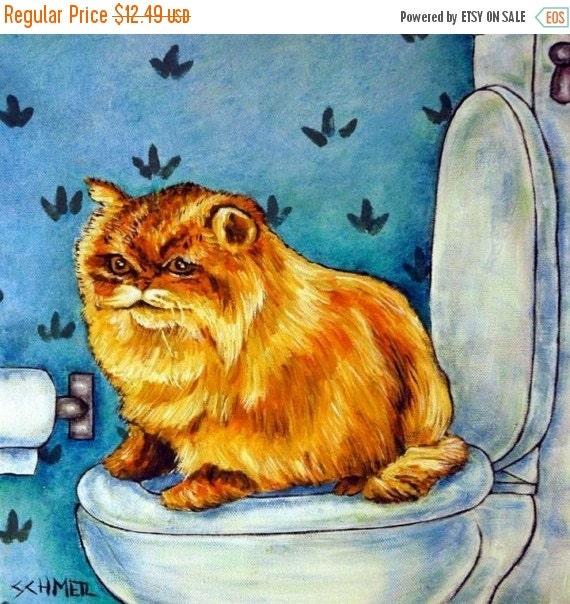 10% off SALE Chinchilla Persian Cat in the Bathroom Art Tile