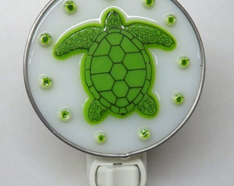 Turtle NLs - 2 Choices - Fused Glass & Stained Glass Turtle Nightlight - Your Choice of Nightlight Fixture