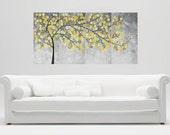 "Modern Wall Art Acrylic painting original yellow grey Abstract landscape wall décor canvas art home Office décor ""Spring 2016"" by QiQi"