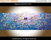 """Silhouette birds Art gift for her gift for mom birds on tree branch decorative art wall hangings """"Night in the Forest II"""" by qiqigallery"""
