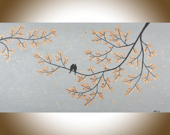 """Contemporary wall art love birds art 48"""" large acrylic painting copper art copper home decor blue grey canvas art wall decor by QiQigallery"""