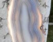 SC-230    Chatoyant Blue Banded Agate Suncatcher Polished Natural Stone Window Art