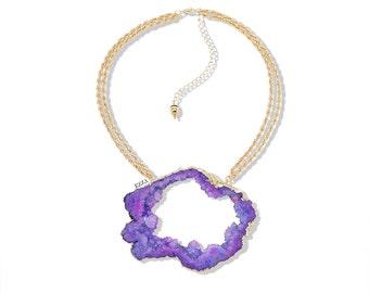 Geode Statement Necklace | Stone Statement Necklace | Purple Statement Necklace | Large Stone Necklace | Purple Stone Necklace | EzzaJewelry