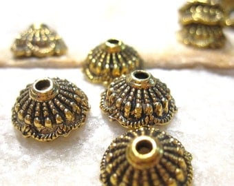 25 pcs Antique Gold Bead Caps, Open Top Caps with beaded detail BC1058 H16