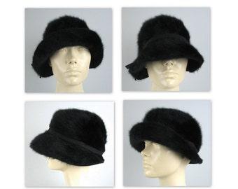 Vintage 60s Kangol Cloche Hat in a soft black angora