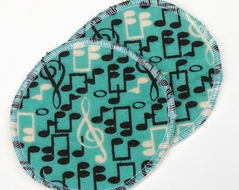 """Large Reusable Nursing Pad Set in Bamboo/Organic Cotton with hidden PUL - cotton flannel top - """"Teal Music"""""""