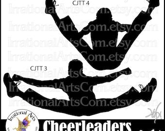 Cheerleader Jump Toe Touch Silhouettes MEN- 2  PNG digital graphics 2 - cheerleaders clipart graphics stunt cheer spirit [Instant Download]