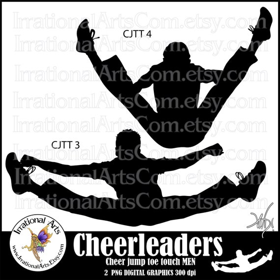 Cheerleader Jump Toe Touch Silhouettes Men 2 Png Digital