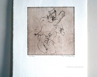 Original Handprinted Etching-Musician Guitar Player Blind Contour Drawing-signed artwork