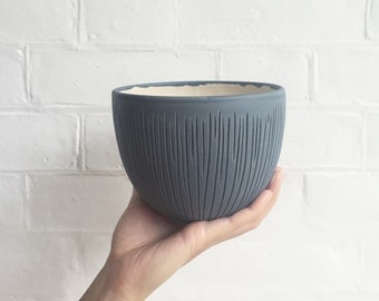 Textured Pottery Bowl in Matte Blue and White