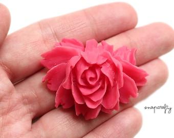 2pc dark pink rose bloom flower cabochons / flat back resin flower embellishment / detailed resin rose cab / diy jewelry pendants bridal