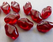 Vintage German Translucent Ruby Red Twisted Flat Diamond Shaped Glass Beads  12x8mm (10)