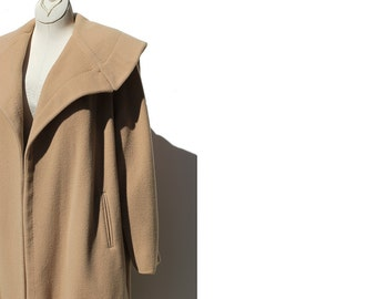 Vintage Sandy Cove Tan Wool Coat / Cashmere Duster Coat