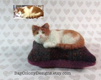 RESERVED for Ann Jayne -- Custom Needle Felted Fancy Cat Kitty Pincushions from Photos (6916)