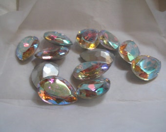 One 25x18mm CrystalnTitania Pear Shaped Czech Vintage Rhinestone for Bezeling