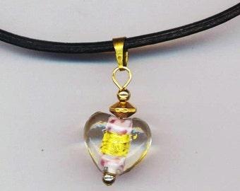 Lampwork Heart Choker/ Pendant . Thin Round Black Leather Cord Necklace . Gold Heart Charm - Loving Heart Choker by enchantedbeas on Etsy