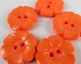 5 Medium Bright Orange Flower Buttons