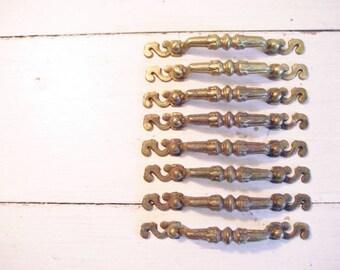 Set of 8 Vintage Brass Metal Drawer Pulls