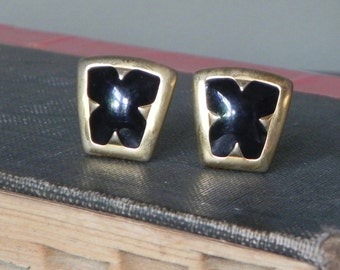 Vintage gold and black enamel earrings - classic styling - 1980s