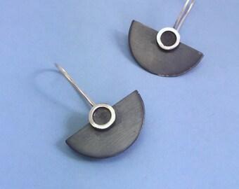 Oxidized Silver Half-Disc Earrings