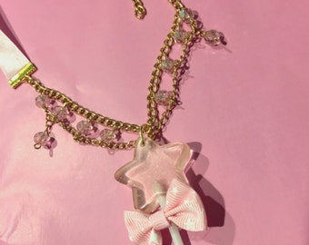 Magical Glittery Star Lollipop Pink Bow And Gems Ribbon Necklace