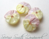 PANSY BEADS in Pink and Yellow, Sculpted Glass Flower Artisan Lampwork Beads sra