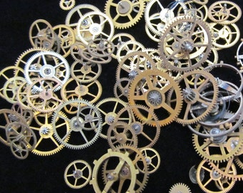 Steampunk gears Supplies Watch Clock Parts 1/2 Oz  Assorted wheels Gears Antique vintage G 43
