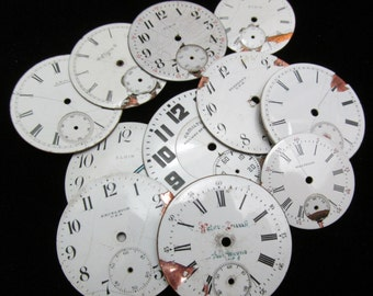 Distressed Shabby Chic Watch Dials Steampunk Faces Enamel Porcelain WC 31