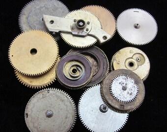 12 Antique Vintage Clock Watch Parts Cogs Gears Assemblage Steampunk Industrial GS 8