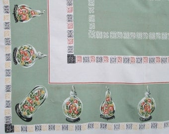 Mid Century Green Large Tablecloth Garden State Tag MWT