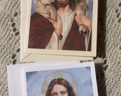 Jesus Christ The Good Shepherd Stationary Cards in White and Ivory Card Stock with Envelope taken from my Original Arcylic Painting Catholic