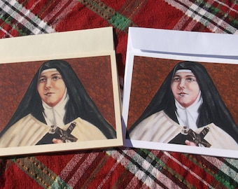 Saint Teresa of Los Andes, O.C.D. Virgin, Nun, Carmelite Stationary Cards on 110lb White Card Stock of Original painting, Catholic Art,