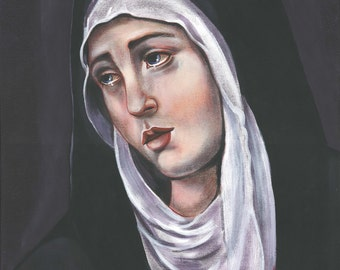 """Our Lady of Sorrows Original, OOAK Acrylic Painting, 15 3/4"""" X 19 3/4"""" Mother of Sorrows Catholic Art, signed"""