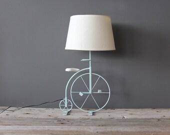Light Aqua Blue Large Bicycle Lamp / Great Nursery Decor