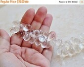 Clearance SALE Rock Crystal Quartz Gemstone Faceted Tear Drop Briolette 12 to 12.5mm 21 beads