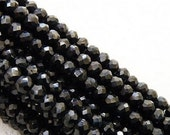 Black Spinel Rondelle Gemstone Faceted Bead 3.5mm 65 beads 1/2 strand