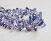 Iolite Gemstone Briolette Faceted Teardrop Pear Top Drilled 8.5 to 9mm 15 beads