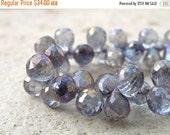 Super SALE Mystic Quartz Gemstone TearDrop Briolette Purple Blue Silver Tanzanite Faceted 10mm 1/2 Strand 29 beads