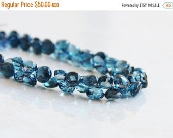 Clearance SALE Outstanding London Blue Topaz Gemstone Briolette Faceted Onion 7 to 7.5mm 7 beads